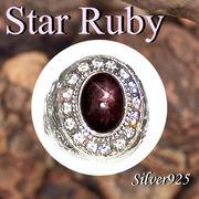 大きいサイズ / 09-55-5  ◆ Silver925 シルバー ドラゴン 龍 リング スター ルビー 21号