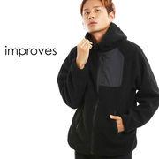 ボアジャケット メンズ フリースジャケット フードジャケット もこもこ 厚手 暖かい 無地