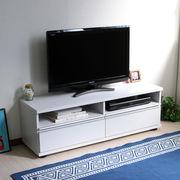 ◎テレビ台 120cm ロータイプ 50インチ 大型テレビ対応 ホワイト JTV-120WH