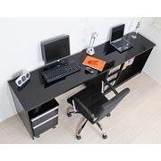 デスク 最大210cm幅 鏡面 パソコンデスク 3点セット 机+書棚+チェスト ブラック FM143BK