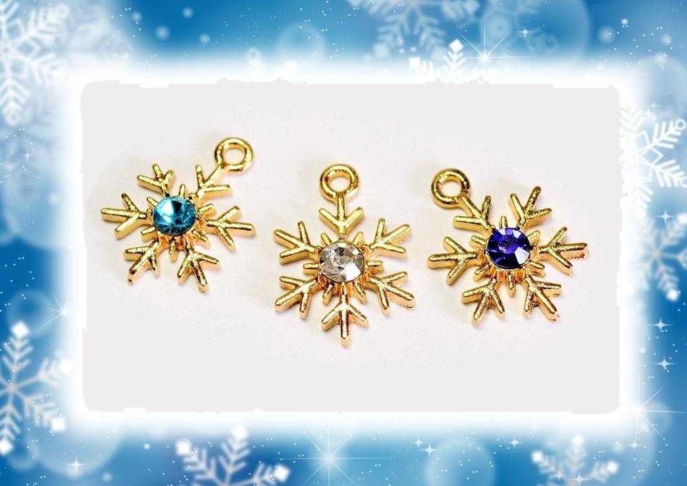 オリジナル企画商品【秋冬アクセサリー】雪の結晶チャーム 18円均一