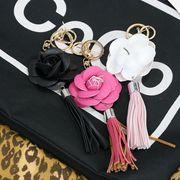 定形外674231】バッグチャーム ストラップ カメリア タッセル キーリング カバン飾り バラ 薔薇