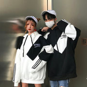 【即納730186 大きいサイズ 韓国 切り替え スポーツ ファッション  パーカー  LL-4L