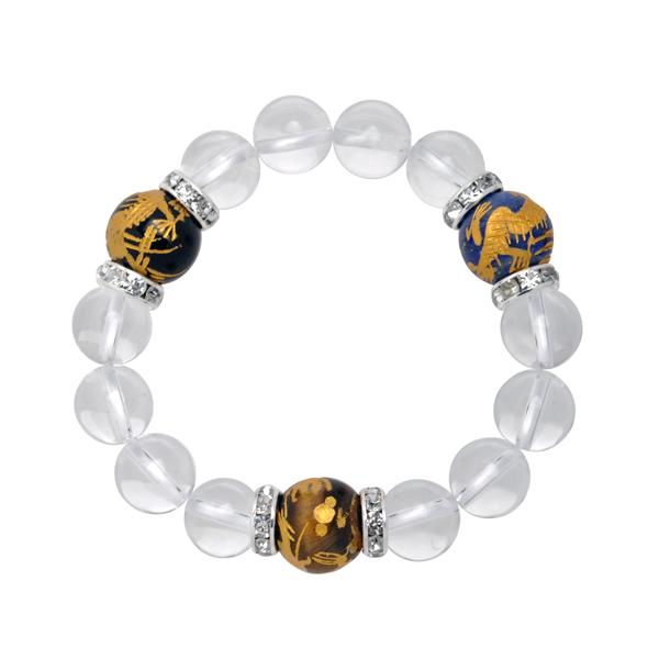 ▼MAGGIO▼大珠手彫り三種金龍クリスタル(水晶)ブレスレット