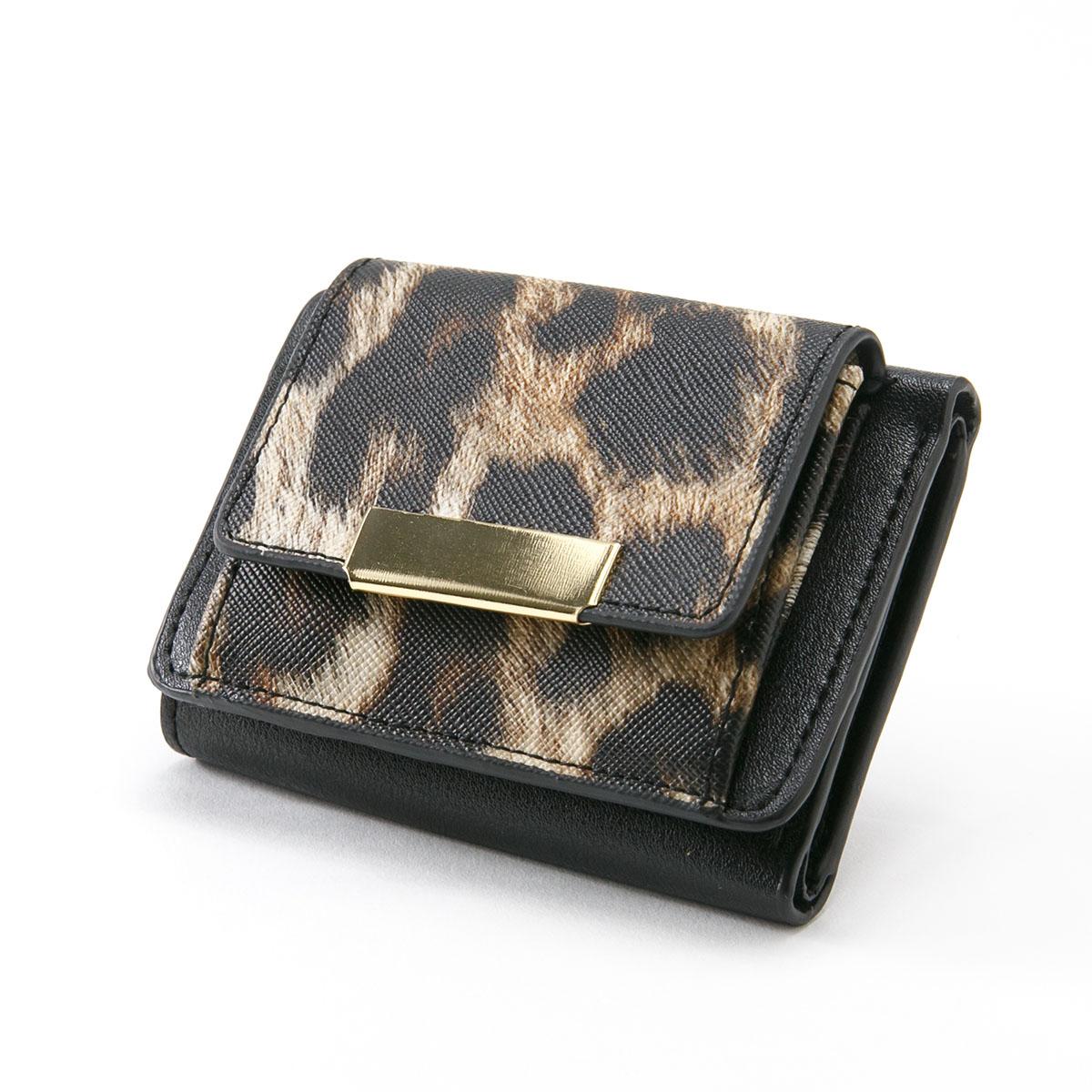 レオパード 三つ折り財布 ミニ財布 [レイナ] / レディース ウォレット 小銭入れ コンパクト