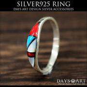 シルバーリング シルバー925 ソリッドインレイ 天然石 ズニ族 民族デザイン サイズフリー