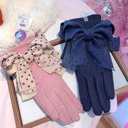 秋冬新品 レディースファッション 手袋 グローブ オシャレ カワイイ 防寒 リボン フワフワ