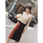 超人気韓国chic/韓国のファッション/高品質/厚手/ニット/カラーマッチング/スカート