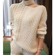 レディーストップス 個性的なデザイン ケーブル編み プルオーバー ニットセーター 着痩せ カジュアル