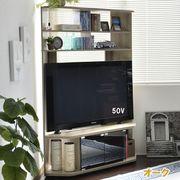 ◎50インチ対応 コーナーテレビ台 ハイタイプ オーク HCTV-120-OAK