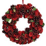 <AMANO>【クリスマス】【リース】ナチュラルデコレーションリース35cm・メタリックレッドローズ