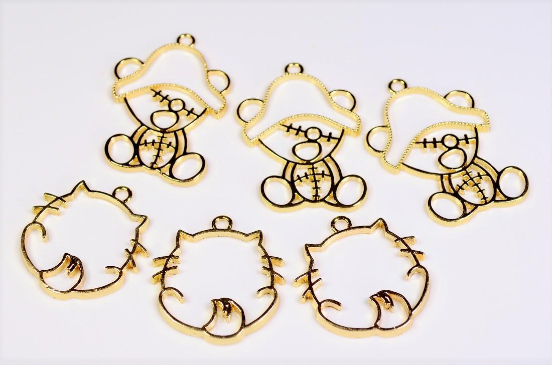 売り尽くしセール◆10円〜 アンティークパーツ 動物レジンフレーム 猫パーツ 熊パーツ