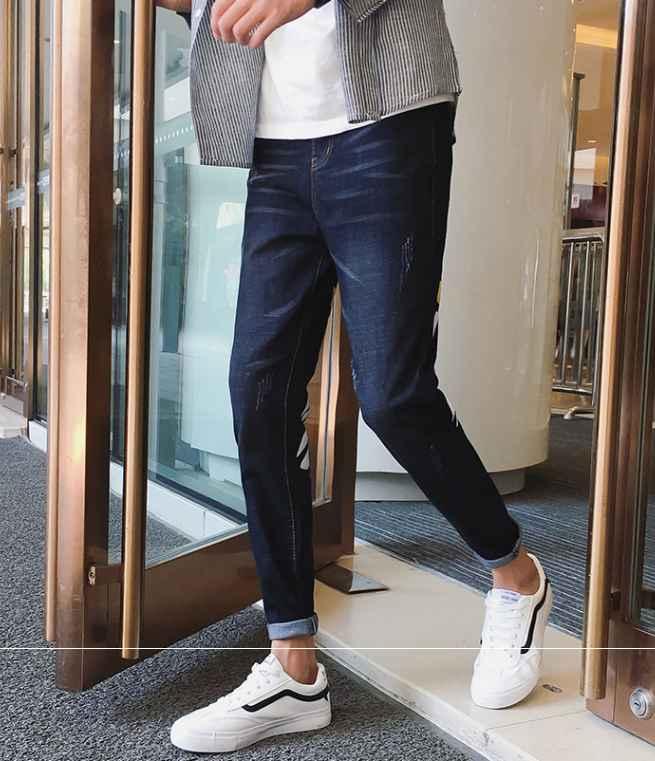 秋冬新作メンズジーンズ パンツ シンプル おしゃれ♪ダークブルー/ブラック2色