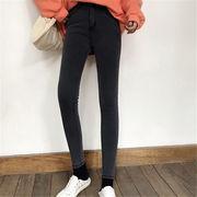 韓国 スタイル ファッション レディース 韓国風 カジュアル デニム パンツ ジーンズ 裏起毛