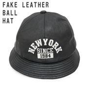 帽子 ハット ボールハット メトロハット フェイクレザー 合成皮革 NEWYORK ロゴ キーズ Keys
