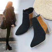 ブーツ ショートブーツ レディース ブーティー 靴 ヒール 秋冬 韓国 歩きやすい 即納