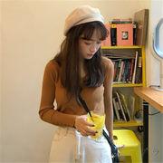 韓国 スタイル ファッション レディース 着痩せ効果抜群 Vネック 長袖 編み織 Tシャツ ブラウス
