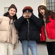 韓国 スタイル ファッション イージー 無地 キルティング ジャケット スタジャン アウター