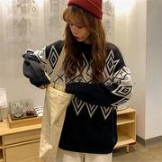 韓国 スタイル ファッション レディース 2018 カジュアル 復古 長袖 編み織 セーター