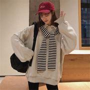 韓国 スタイル ファッション 長袖 縞模様 スウェット トレーナー パーカー トップス