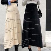 2018 秋 冬 韓国 スタイル ファッション レディース ゆったり ヴィンテージ ハイウエスト ロングスカート