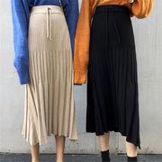 2018 秋 冬 韓国 スタイル ファッション レディース ゆったり 無地 ハイウエスト ロングスカート