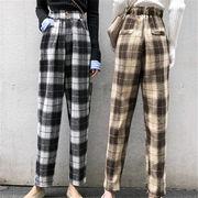 2018 秋 冬 韓国 スタイル ファッション ヴィンテージ チェック柄 ボトムス 長ズボン ロングパンツ パンツ