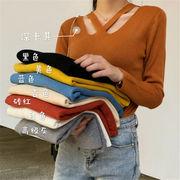 2018 秋 冬 韓国 スタイル ファッション レディース ゆったり 無地 長袖 ニット 編み織 セーター