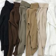 韓国 スタイル ファッション ゆったり 無地 ハイネック 長袖 ニット 編み織 セーター