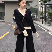 2018 秋 冬 韓国 スタイル ファッション 2枚セット 長袖 ニット 編み織 セーター
