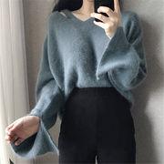 2018 秋 冬 韓国 スタイル ファッション 無地 フレア袖 長袖 ニット 編み織 セーター