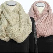 【冬 新作】レディース マフラー 無地 ゴム編み モヘア ニット 襟巻き スヌード 10枚セット