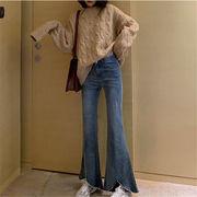 韓国 スタイル ファッション カジュアル ハイウエスト デニム パンツ ジーンズ パンツ