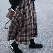 韓国 スタイル ファッション 秋 冬 韓国風 ヴィンテージ チェック柄 ロングスカート