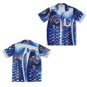 日本製 made in japanアロハシャツ 青 M 箔入 178289