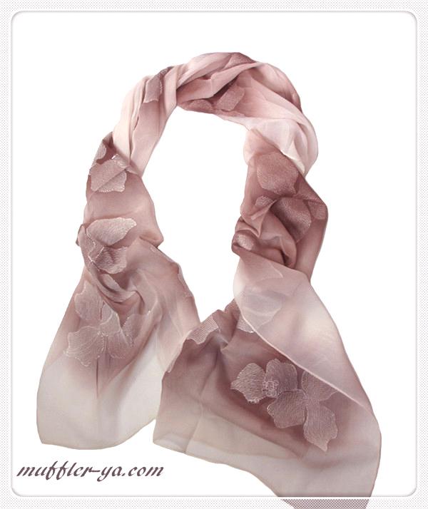 グラデーションフラワー刺繍入りロングストール/スカーフ 1787a