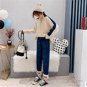 韓国 スタイル ファッション 秋 冬 激安 お洒落 ゆったり デニム パンツ ジーンズ