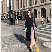 2018秋冬新作/韓国ファッション/CHIC気質/大人気/シフォン/編み物/縫付/ロングスカート/ワンビース