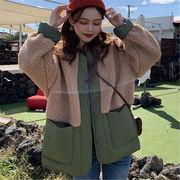 韓国風 ファッション 【秋冬新作】 激安 ゆったり 配色 フリース ジャケット