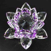 クリスタルガラス蓮花台 パープルカラー 小サイズ  品番: 10087