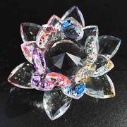 クリスタルガラス蓮花台 ミックスカラー 小サイズ  品番: 10090