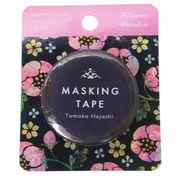 【マスキングテープ】マスキングテープ Tomoko Hayashi 15mm マステ/フラワーガーデン ブラック