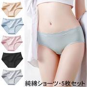 5枚セット 女性ショーツ 女性パンツ 高通気性 純綿 シンプル 無地 レディースショーツ レース