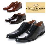【CITY FELLOWS】(シティーフェローズ) 内羽根式ストレートチップ レースアップ レザー ビジネス シューズ