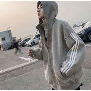 パーカー フルジップ 韓国 ストリート 袖ライン オーバーサイズ