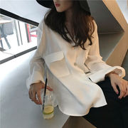 早春 韓国風 アンティーク調 ルース 着やせ 気質 何でも似合う ポケット 長袖 単一色