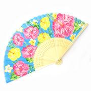 <ファッション雑貨><和雑貨・和土産>高級シルク扇子 沖縄 ハイビスカス ブルー No.504-983