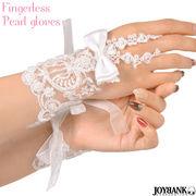 リボン ホワイトパール レース フィンガーレス ショート 手袋 ウェディング