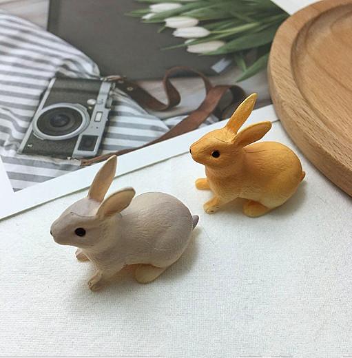 動物の灰色 オレンジ色 うさぎちゃん 微景観部品 Diy イヤリング