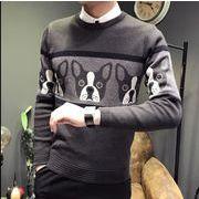フレンチブルドッグ Bulldog メンズセーター 丸首 秋冬 ニットセーター